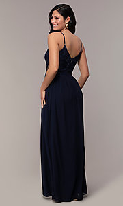 Image of long chiffon lace-bodice prom dress by PromGirl. Style: SOI-PL-M18620 Detail Image 5