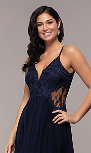 Image of long chiffon lace-bodice prom dress by PromGirl. Style: SOI-PL-M18620 Detail Image 6