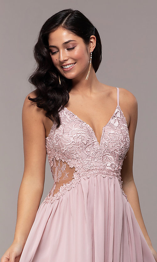 Image of long chiffon lace-bodice prom dress by PromGirl. Style: SOI-PL-M18620 Detail Image 1