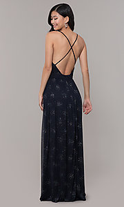 Image of low-v-neck long chiffon prom dress with open back. Style: IT-AE-7135112 Back Image
