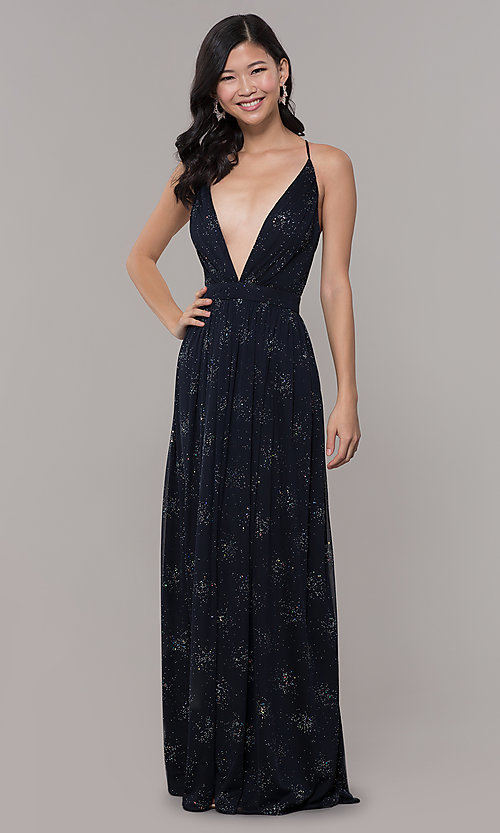 Image of low-v-neck long chiffon prom dress with open back. Style: IT-AE-7135112 Front Image