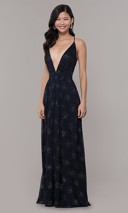 Image of low-v-neck long chiffon prom dress with open back. Style: IT-AE-7135112 Detail Image 3