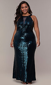 Image of high-neck sequin long plus-size prom dress. Style: MO-12474WM Front Image