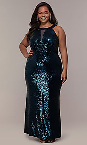 Image of high-neck sequin long plus-size prom dress. Style: MO-12474WM Detail Image 3