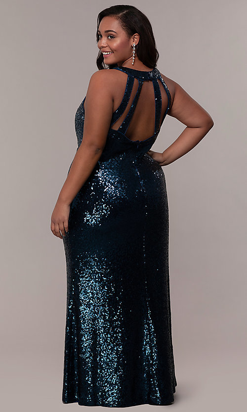 Image of high-neck sequin long plus-size prom dress. Style: MO-12474WM Back Image