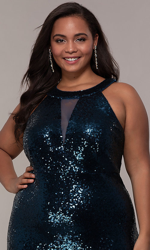 Image of high-neck sequin long plus-size prom dress. Style: MO-12474WM Detail Image 1