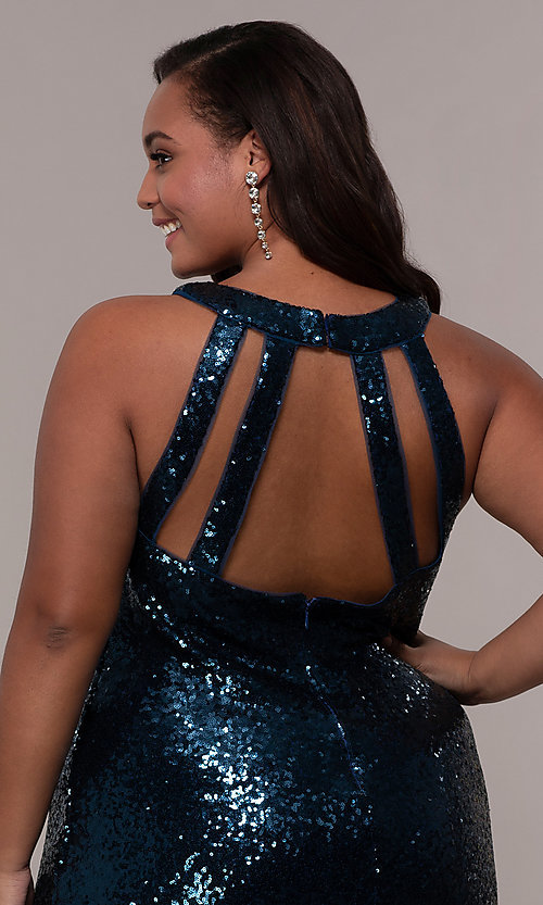 Image of high-neck sequin long plus-size prom dress. Style: MO-12474WM Detail Image 2
