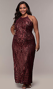 Image of art-deco-inspired long sequin plus-size prom dress. Style: MO-21576WM Front Image