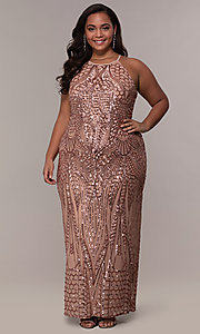 Image of art-deco-inspired long sequin plus-size prom dress. Style: MO-21576WM Detail Image 4