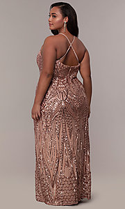Art-Deco-Inspired Long Sequin Plus-Size Prom Dress