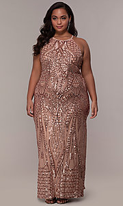 Image of art-deco-inspired long sequin plus-size prom dress. Style: MO-21576WM Detail Image 8