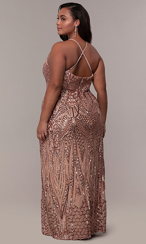 Image of art-deco-inspired long sequin plus-size prom dress. Style: MO-21576WM Detail Image 5