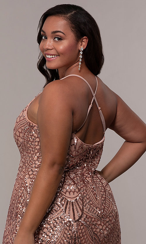 Image of art-deco-inspired long sequin plus-size prom dress. Style: MO-21576WM Detail Image 7