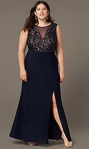 Image of sequin-bodice long navy plus-size prom dress. Style: MO-21647W Front Image
