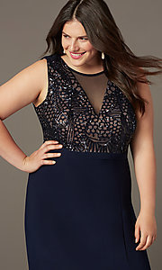 Image of sequin-bodice long navy plus-size prom dress. Style: MO-21647W Detail Image 1