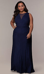 Image of long glitter-knit plus-size prom dress. Style: MO-21712W Front Image