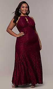 Image of empire-waist long plus glitter-lace prom dress. Style: MO-21713W Detail Image 3