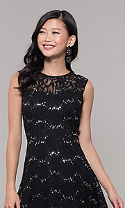 Image of silver and black short lace holiday dress. Style: SS-D71791P6HJL Detail Image 1