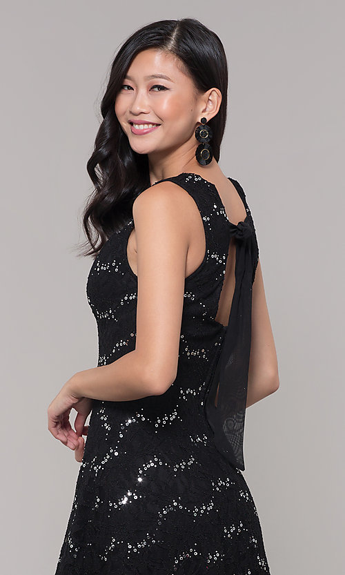 Image of silver and black short lace holiday dress. Style: SS-D71791P6HJL Detail Image 2