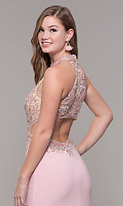 Image of high-neck long prom dress by PromGirl. Style: FB-PL-GL2282 Detail Image 7