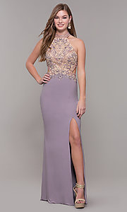 Image of high-neck long prom dress by PromGirl. Style: FB-PL-GL2282 Front Image