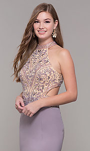 Image of high-neck long prom dress by PromGirl. Style: FB-PL-GL2282 Detail Image 1