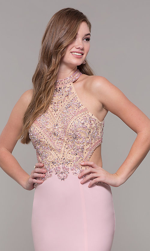 Image of high-neck long prom dress by PromGirl. Style: FB-PL-GL2282 Detail Image 6
