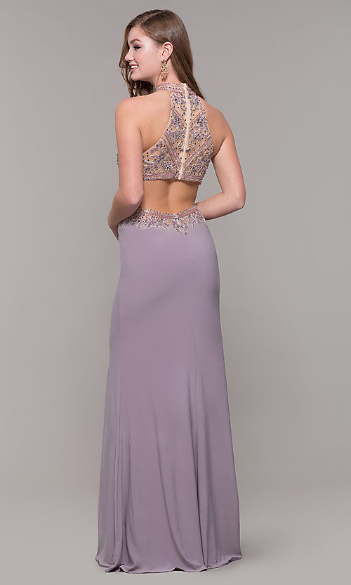 Image of high-neck long prom dress by PromGirl. Style: FB-PL-GL2282 Back Image