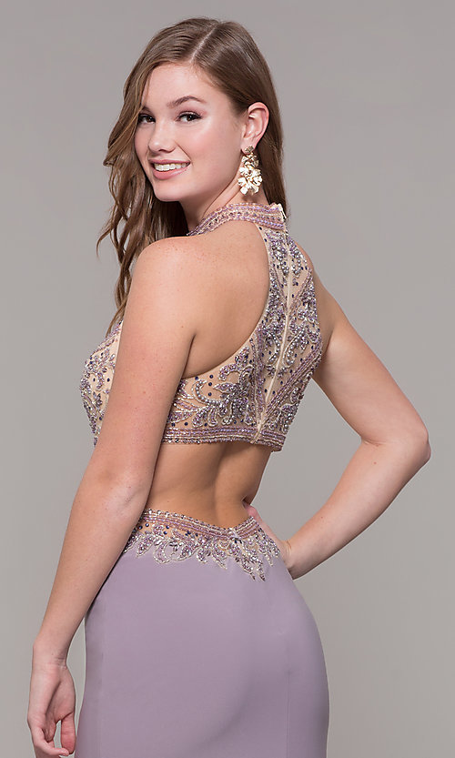 Image of high-neck long prom dress by PromGirl. Style: FB-PL-GL2282 Detail Image 2