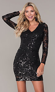 Image of short black long-sleeve holiday dress by Simply. Style: MCR-SD-2547B Front Image