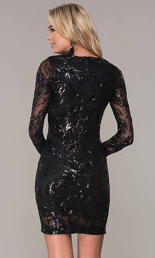 Image of short black long-sleeve holiday dress by Simply. Style: MCR-SD-2547B Back Image