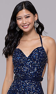 Image of long sequin-mesh formal sweetheart dress by PromGirl. Style: PV-PL-124 Detail Image 6
