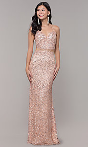 Image of long sequin-mesh formal sweetheart dress by PromGirl. Style: PV-PL-124 Front Image