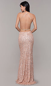 Image of long sequin-mesh formal sweetheart dress by PromGirl. Style: PV-PL-124 Back Image