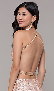 Image of long sequin-mesh formal sweetheart dress by PromGirl. Style: PV-PL-124 Detail Image 2