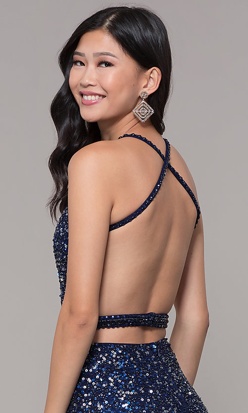 Image of long sequin-mesh formal sweetheart dress by PromGirl. Style: PV-PL-124 Detail Image 7