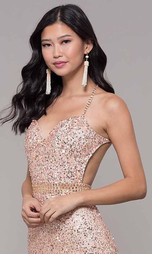 Image of long sequin-mesh formal sweetheart dress by PromGirl. Style: PV-PL-124 Detail Image 1
