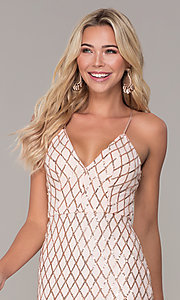 Image of short rose gold sequined holiday dress by Simply. Style: MCR-SD-2545RG Detail Image 1