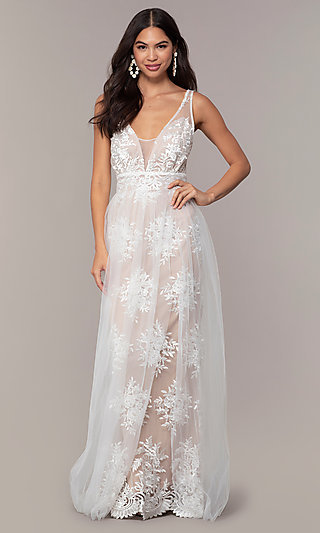 Long Embroidered Sleeveless Prom Dress by PromGirl