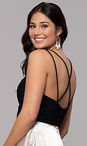 Image of black and gold square-neck long faux-wrap prom dress. Style: BN-1068BN Detail Image 2
