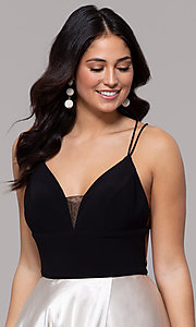 Image of long illusion open-back faux-wrap prom dress. Style: BN-1071BN Detail Image 1