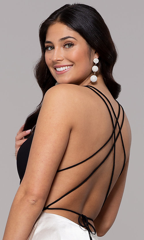 Image of long illusion open-back faux-wrap prom dress. Style: BN-1071BN Detail Image 2