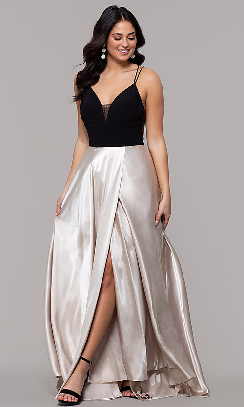 Image of long illusion open-back faux-wrap prom dress. Style: BN-1071BN Detail Image 3