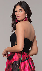 Image of long black floral-print strapless prom dress. Style: BN-1191BN Detail Image 2