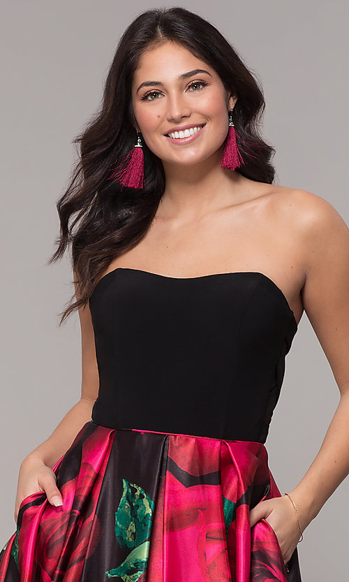 Image of long black floral-print strapless prom dress. Style: BN-1191BN Detail Image 1