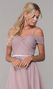 Image of long mauve off-the-shoulder prom dress by PromGirl. Style: FB-PL-GL9002 Detail Image 1