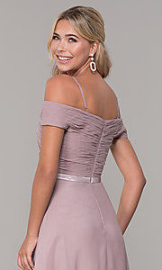 Image of long mauve off-the-shoulder prom dress by PromGirl. Style: FB-PL-GL9002 Detail Image 2