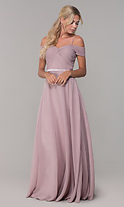 Image of long mauve off-the-shoulder prom dress by PromGirl. Style: FB-PL-GL9002 Detail Image 3