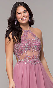 Image of rose high-neck embroidered-bodice long prom dress. Style: BN-169BN1 Detail Image 1