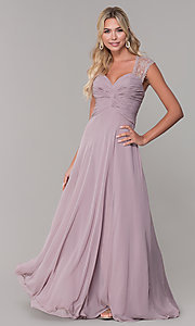 Image of long lace-back chiffon prom dress by PromGirl. Style: FB-PL-GL9001 Front Image